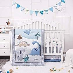 6. La Premura Dinosaur Baby Nursery Crib Bedding 3 Piece Set