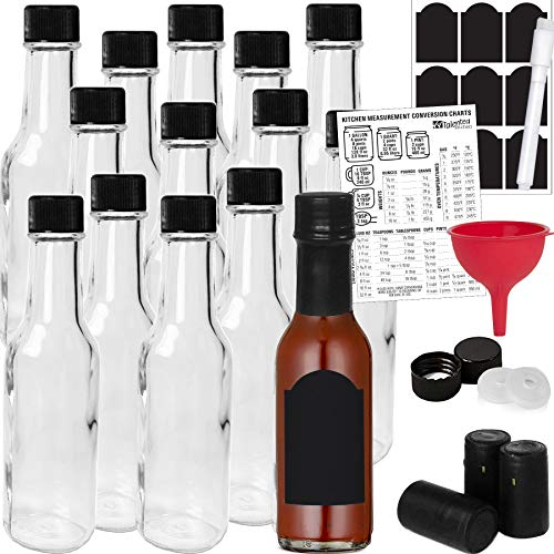 14-PACK Hot Sauce Bottles 5oz with Caps, Funnel for Kitchen, Chalkboard Labels, Shrink Capsules, Dripper Inserts. Mini Wine Bottle Hot Sauce Kit, 5 Oz Woozy Glass Bottle Dasher by Talented Kitchen