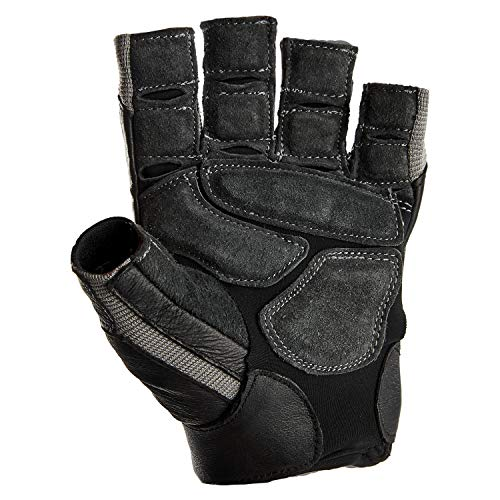 Harbinger BioForm Non-Wristwrap Weightlifting Glove with Heat-Activated Cushioned Palm (Pair), Black/Gray, Large