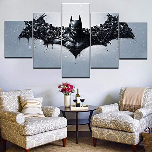 CLOAAE 5 Stücke gerahmte HD gedruckt Fledermaus Held Mann dunklen Ritter Comic Bild Wandkunst Leinwand Raumdekoration Poster Leinwand Moderne modulare Malerei