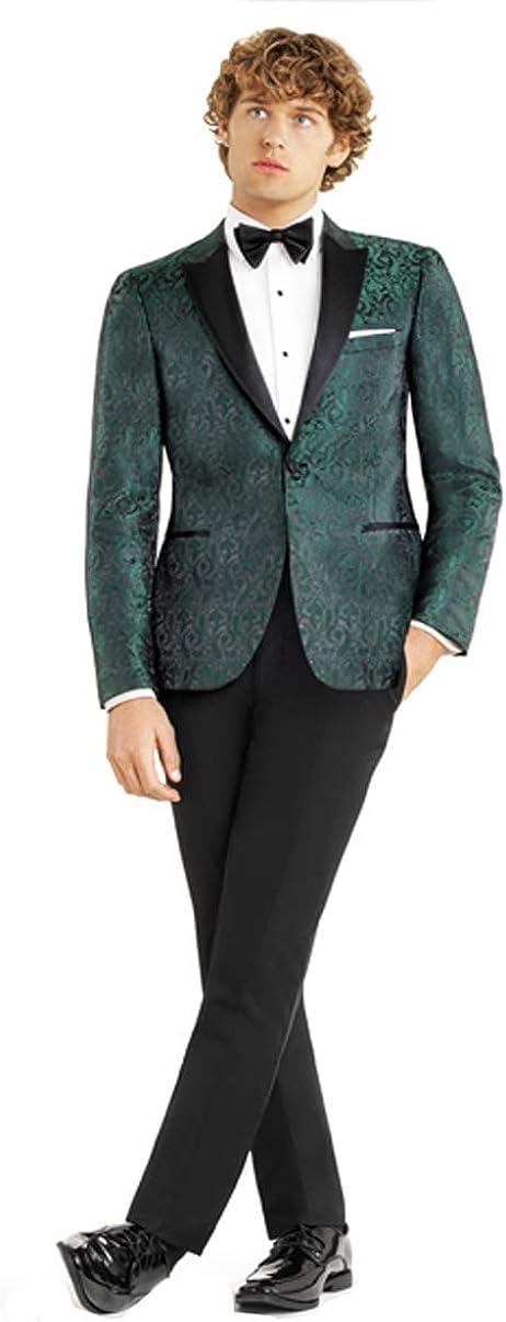 Green Paisley Slim Fit Tuxedo Jacket