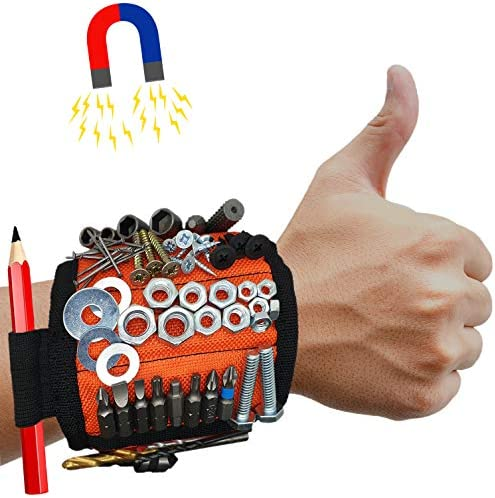 MyToolOn Magnetic Wristband with 20 Strong Magnets for Holding Screws Nails Drill Bits Best product image