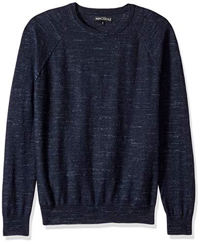 J.Crew Mercantile Men's Textured Cotton Crewneck Sweater, Heather Indigo, M