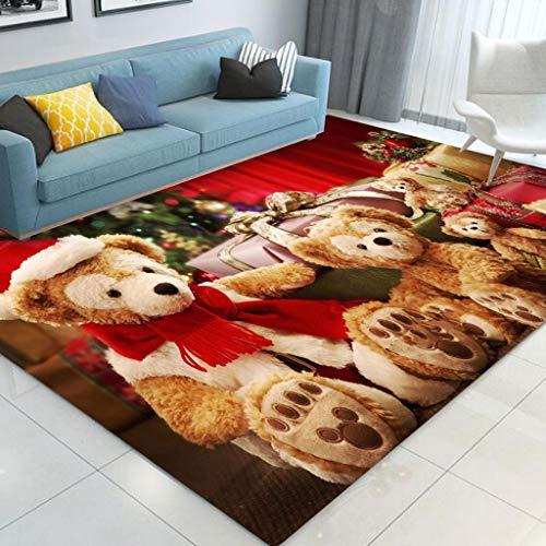 HYRL Alfombra de área navideña, alfombras de Interior para el hogar Sala de Estar Antideslizante de Santa Claus...