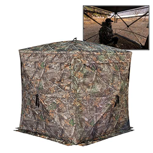 Rhino Blinds R180 3 Person See Through Hunting Ground Blind, Realtree Edge