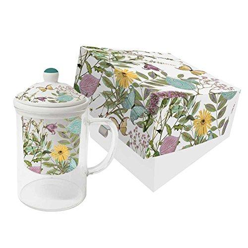 PPD Kensington Garden Teebecher mit Sieb, Tee Becher, Glasbecher, Trinkbecher, Glas / Porzellan, Mehrfarbig, Ø 8 cm, 603323