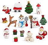 DIYASY Miniatur-Weihnachtsfiguren, 15 Stück, Kunstharz, Weihnachtsmann, Schneemann, Elch,...