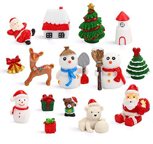 DIYASY Christmas Miniature Figurines,15 Pcs Mini Crafts Resin Santa Claus Snowman Elk Ornaments Kit for DIY Christmas Fairy Garden and Snow Globes