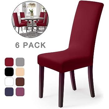 Coprisedie con schienale 6 pezzi Elasticizzato Copertura della sedia bi elastico per una misura universale, Coppia spandex Coprisedia molto facile da