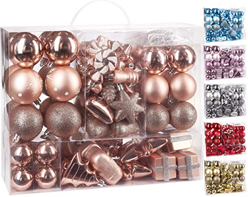 Brubaker 77-teiliges Set Weihnachtskugeln Christbaumschmuck - Kunststoff Roségold/Silber