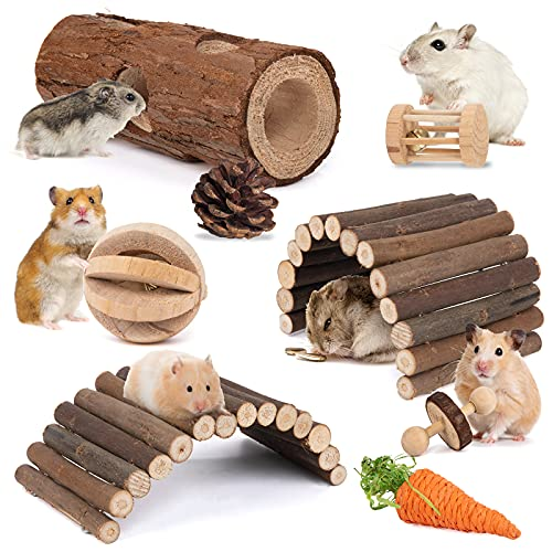 Sofier Hamster Toys and Accessories 8 Pack Hamster Chew Toys for Teeth Natural Wooden Ladder Bridges Hamster Hideout Tube Small Animal Toys for Rat Dwarf Hamster Parrot Gerbil
