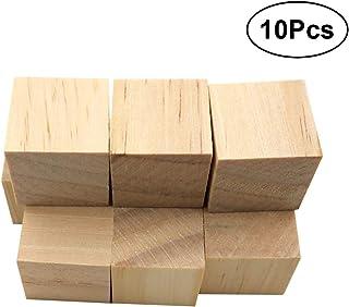 VOSAREA 10 Piezas cuadradas de Madera Cubos de Madera