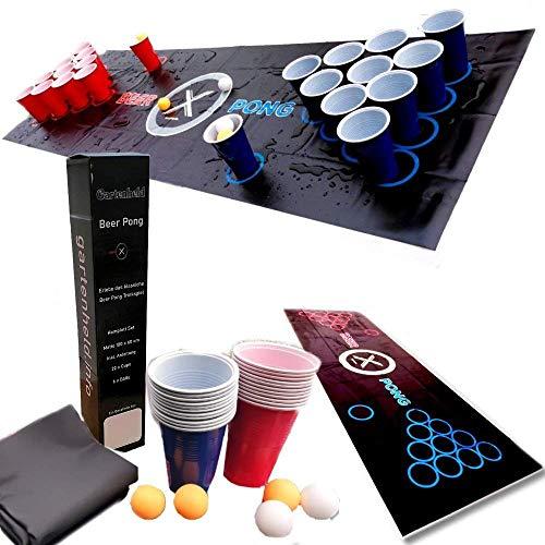 Gartenheld Beer-Pong inkl. 100 x Cups Becher rot / blau Trinkspiel Matte (180 x 60 cm) KOMPLETT-Set , 6 x Bälle und Regelwerk / Spielregeln