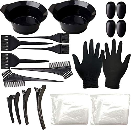 Anself 24 Pcs Kit de Coloración para Cabello, Tinte, Tazón de Peine de Coloración, Cubierta para los Oídos, Guantes Kit de Herramientas para Decoloración de Tinte DIY