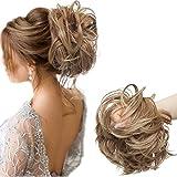 Sego moño postizo grueso coleta postiza [castaño claro a rubio ceniza] coletero pelo mujer extensiones de pelo sintético se ve natural (80g)