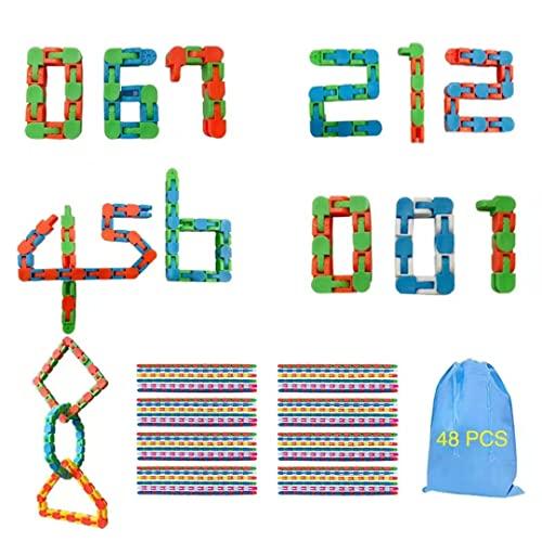 SoulLife 48PCS Wacky Tracks Snap and Click Fidget Toys,24 Links Wacky Tracks,Finger Sensory Toys Snake Puzzles for Stress Relief ADD ADHD