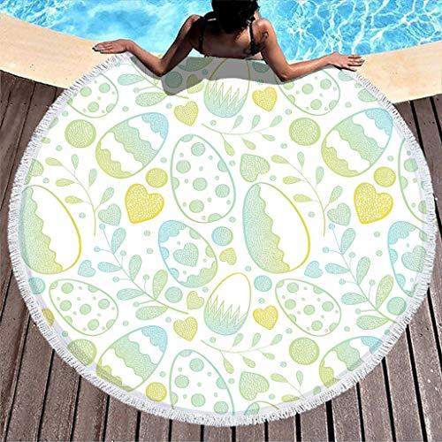Gamoii Toalla de playa redonda con forma de huevos de Pascua, picnic, playa, secado rápido, tamaño grande, con borlas, para niños, mujeres, playa, tomar el sol, color blanco, 150 cm