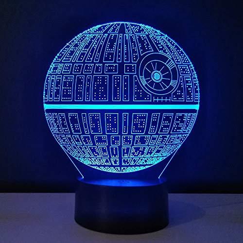 Lámpara de noche LED 3D ilusión 16 cambio de color lámpara decoración lámpara regalo perfecto para niños (Estrella de la Muerte)