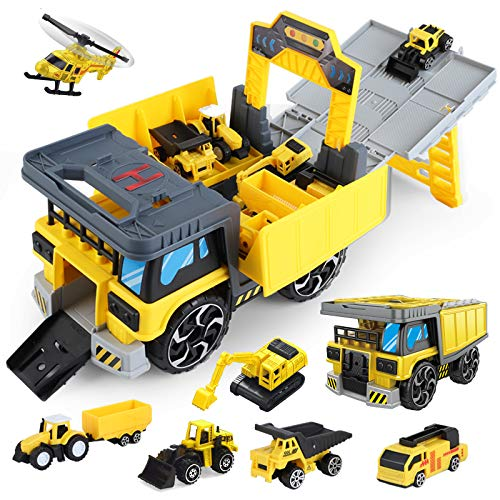 Construction Truck Car Toys Set for Boys, Toddler Race Track Toys, Tractor with Matchbox Bulldozer, Dump Truck, Ladder Truck, Excavator, Helicopter, Christmas Birthday Gifts for 3 4 5 6 Years Old Boys