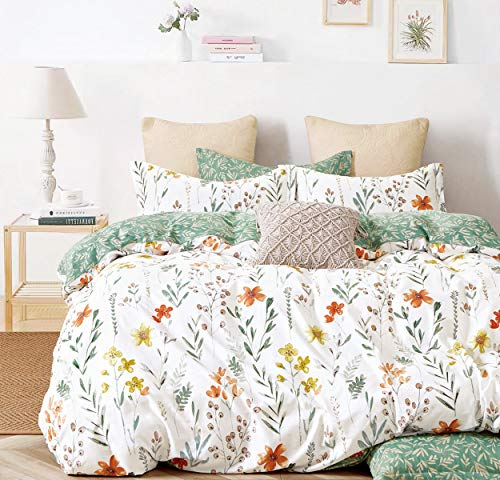 SLEEPBELLA Duvet Cover Queen, 600 Thread Count Cotton 3pcs Bedding Set Yellow Flowers and Green Branches Printed on White Reversible Comforter Cover