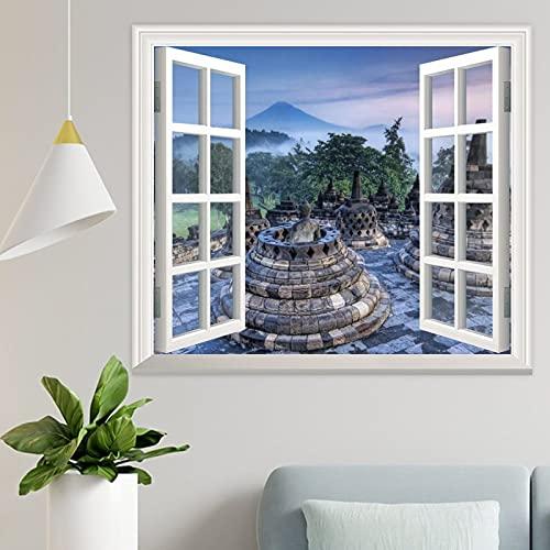 DKISEE Wpw1164 - Adhesivo decorativo para pared con vistas a la ventana de Indonesia, diseño de Templo Budista de Borobudur en el amanecer de Indonesia