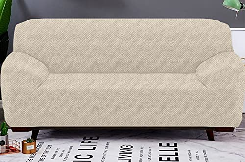Copridivano abbraccio elasticizzato 1 Posti/2 Posti/3 Posti/4 Posti protettore del divano - fodera per divano (Panna, 3 Posti)