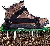 JHNEA Sandales Aérateur Pelouse Semelles de Ventilation de Pelouse Chaussure à Gazon, Chaussure à Gazon, Clous en Acier, Boucles, Taille Unique, Convient pour Chaussures ou Bottes,Green