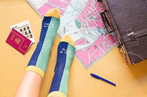 UO'con TE en Cabo del mundo Azul calcetines, Algodón, 39–42