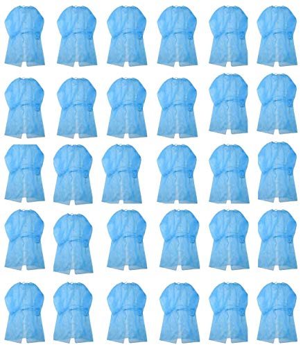 Leo Disposal Protective Isolation Gown - 30 pcs Blue. Latex Free,Non-Woven, Fluid Resistant,ONE Size FITS All (30 pcs)