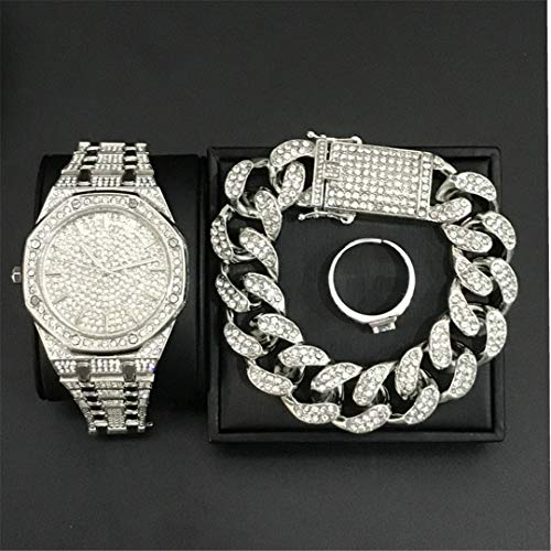 MTRESBRALTS - Reloj para hombre Hip Hop pulseras con cristal Miami, cadena Cuba, oro plata, reloj para hombre, pulsera anillos, set rock anillos ajustables, bronce plateado