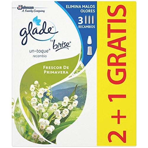 glade ambientador un Toque Aroma frescor de Primavera, 3 recambios, Verde, 4x5.5x9.2 cm, 3 Unidades