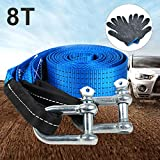 Quieting Towing Straps 8T & 5M, Tow Rope Heavy Duty Trailer Winch with 2 U-Shape Carbon Steel Safety Hooks, Pair of Gloves, Carry Bag, Road Recovery Towing Cable for Emergency Off Road, Blue