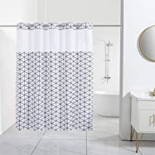 Encozy Shower Curtain with Removable Polyester Liner and Translucent See-Through Window (Black & White, 71x74)