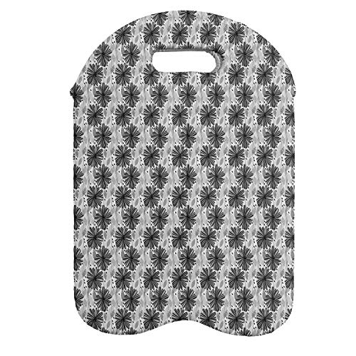 Lunarable Black and White Wine Bottle Carrier, Nature-inspired Modern Abstract Ornament of Flowers and Leaves, Portable Neoprene Bag for Champagne and Water Bottles, 2 Bottles, Black Grey and White