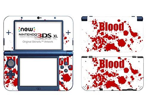 Skins4u Nintendo New 3DS XL Skin Aufkleber Skin Folie Design Sticker komplett Set Schutzfolie - Blood Crime White