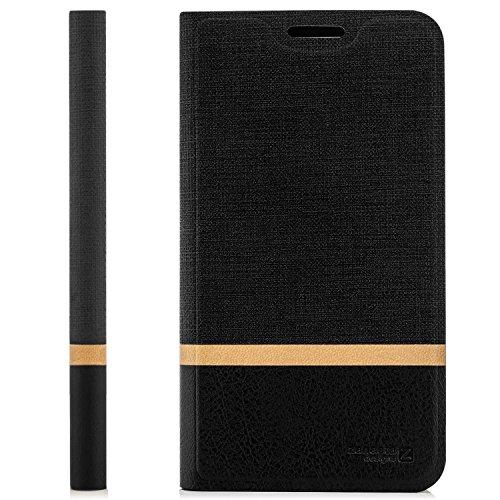 zanasta Tasche kompatibel mit Huawei G Play Mini Hülle Flip Case Schutzhülle Handytasche mit Kartenfach Schwarz