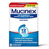 Chest Congestion, Mucinex Maximum Strength 12 Hour Extended Release Tablets, 42ct, 1200 mg Guaifenesin Relieves Chest Congestion Caused by Excess Mucus, #1 Doctor Recommended OTC expectorant