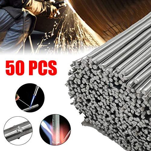 Varillas de soldadura de aluminio, varilla de soldadura con núcleo de fundente de baja temperatura de 50 cm, trabajo reparación bricolaje, sin necesidad de polvo de soldadura - 50 piezas (2.4mm)