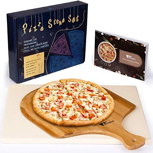 amzdeal Pierre à Pizza, Kit à Pizza avec Pierre pour Four en Cordiérite, Pelle à Pizza en Bambou et Recettes, Outil de Cuission pour Four, Gril et Plaque de Cuisson, Emballage Exquis