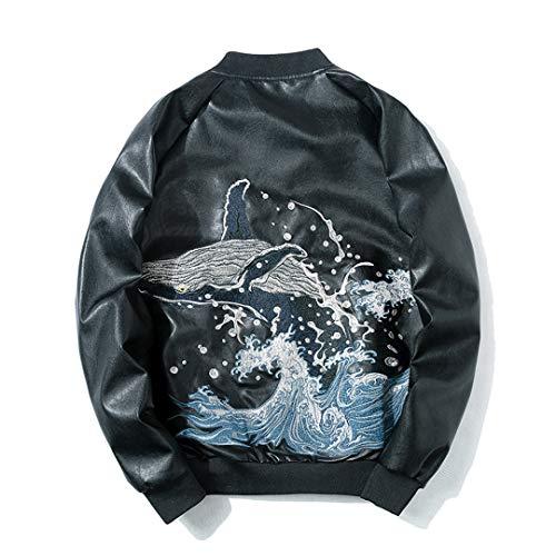 Men Leather Jacket Embroidery Bird Bomber Jacket Harajuku Baseball Couple Jacket Youth Japanese Streetwear Black Five S