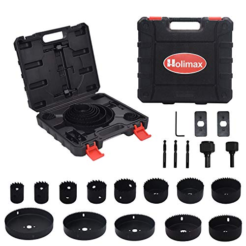Holimax 21 Pcs Hole Saw Set, Hole Saw Kit with 13Pcs Saw Blades, 2 Mandrels, 3 Drill Bits, 2 Installation Plate, 1 Hex Key, Max Size 6' and Min Size 3/4', Ideal for Soft Wood, Plywood, Drywall, PVC