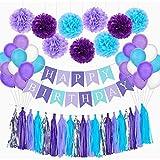 Decoraciones Cumpleaños -YUESEN Decoraciones de Fiesta de Sirena, Feliz cumpleaños con Pompones de Papel Globos de látex guirnalda de borla Pancarta Happy Birthday(54 Pcs)