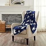 Great Bay Home Decorative Holiday Throw Blanket. Super Soft Velvet Plush Christmas Design. (Navy Polar Bears)
