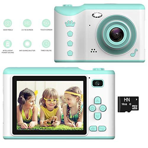 Kinder Kamera, Kinderkamera Digital Fotokamera Selfie, 2.8 Zoll Touchscreen Digitalkamera 8M Pixel, vorderes und hinteres Objektiv, mit Blitzlicht, Fun Junge Mädchen Kamera 16G SD-Karte