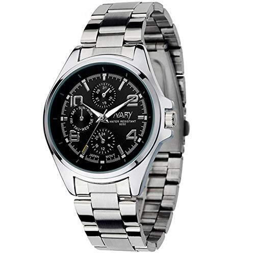 Filfeel Reloj De Hombre, Business Moderno Acero Banda Impermeable Cuarzo Reloj de Pulsera(Schwarzes Zifferblatt)
