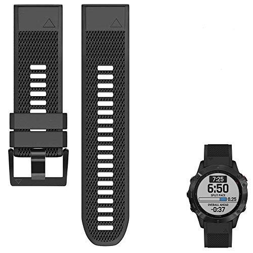 Compatible con Garmin Fenix 6 Band Easy Fit 22 mm de ancho correa de reloj de silicona suave de repuesto para Fenix 6/Fenix 5/Fenix 5 Plus/Forerunner 935/Approach S60/Quatix 5/Qiatix5 Sapphire (Negro)