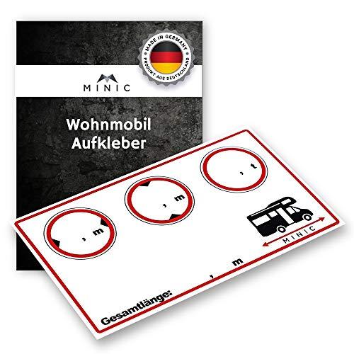 MINIC Wohnmobil Aufkleber(9,5cm x 5,5cm)|| Extrem stark haftend | Gewicht - Höhe - Breite - Länge | Wetterfester & UV beständiger Sticker | Wohnmobil Zubehör | Leicht zu beschriften | Camper Aufkleber