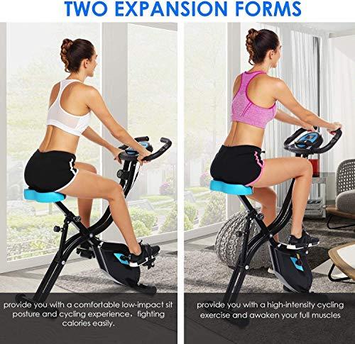51DEdDcV mL - ANCHEER Bicicleta Estática Plegable Bicicleta de Ejercicio 10 Niveles de Resistencia Magnética, con App, Soporte para Tableta Capacidad de Peso:120kg (Negro (Respaldo+Giro de Cintura))