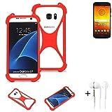 K-S-Trade® Handyhülle + Kopfhörer Für Motorola Moto E5 Dual SIM Schutzhülle Bumper Silikon Schutz Hülle Cover Case Silikoncase Silikonbumper TPU Softcase Smartphone, Rot (1x),