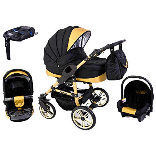 Tabbi ECO X GOLD | 4 in 1 Kombi Kinderwagen Hartgummi Black